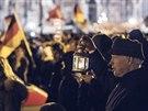 Demonstrace proti islamizaci Evropy. V saských Drážďanech měli stoupenci protimuslimského  hnutí Pegida převahu. (22. prosince 2014)