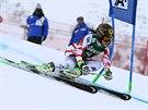 Anna Fenningerová v obřím slalomu v Kühtai.