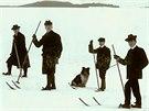 První lyžaři v Hronově v roce 1903 pánové Matějka, Posselt, Šára a Švorčík.