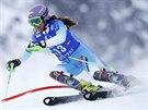 Šárka Strachová na slalomové trati v rámci Světového poháru v Kühtai