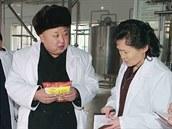 Kim Čong-un na inspekci v potravinovém závodě (16. prosince 2014)