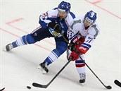 V souboji o puk se ocitl finský hokejista Ilari Filppula (vlevo) a Roman Horák.