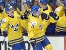 Švédští mládežničtí reprezentanti Axel Holmström (25) a Oskar Lindblom (22) slaví gól na ledě, jejich spoluhráči na střídačce.